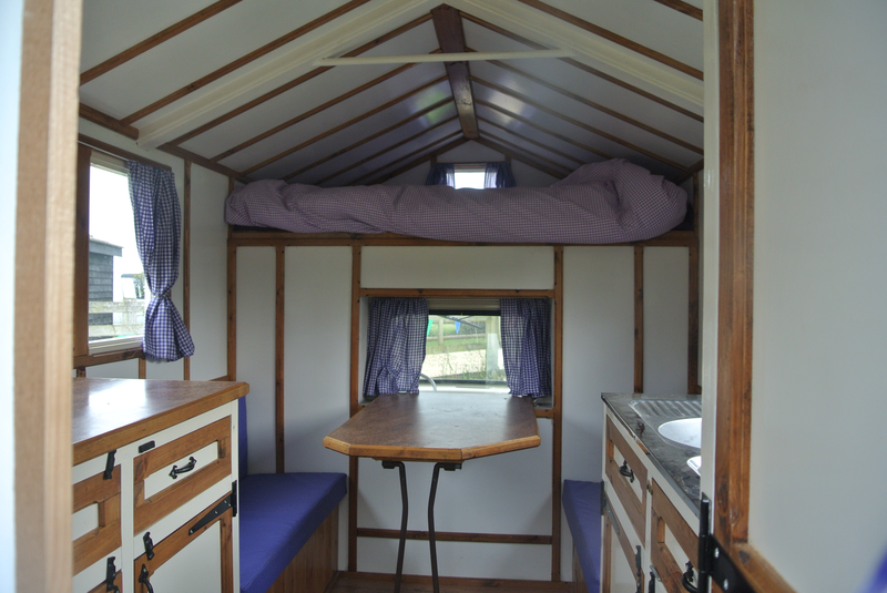The inside of the prizewinning shed-on-wheels