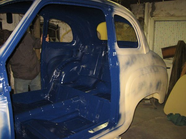 The inside of the car painted